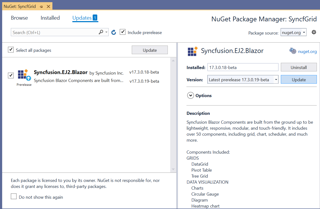 update syncfusion blazor nuget