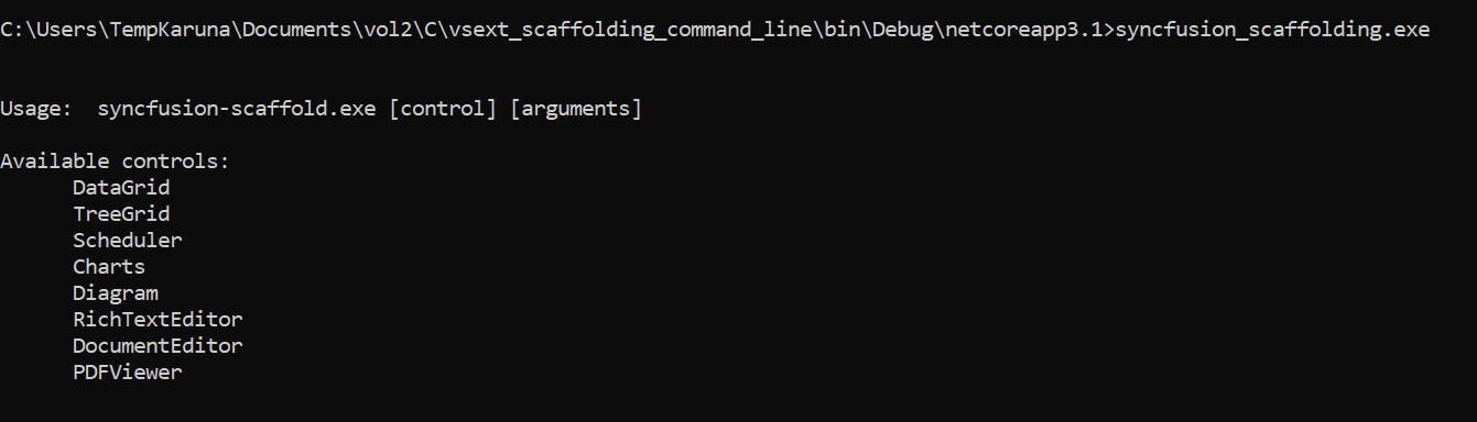CommandLine Scaffold Available Controls