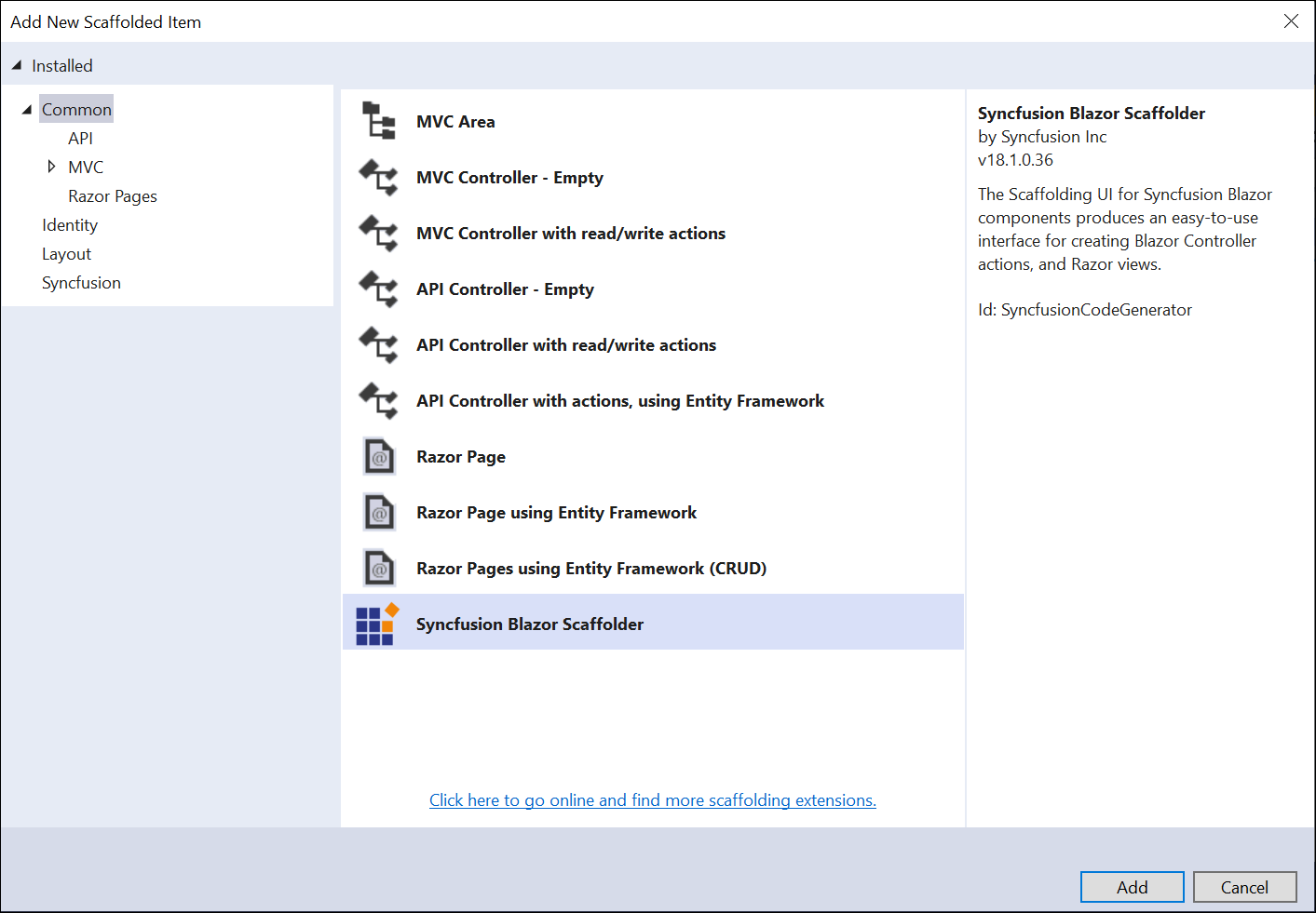 Choose Syncfusion Scaffolding from Visual Studio Add scaffold dialog